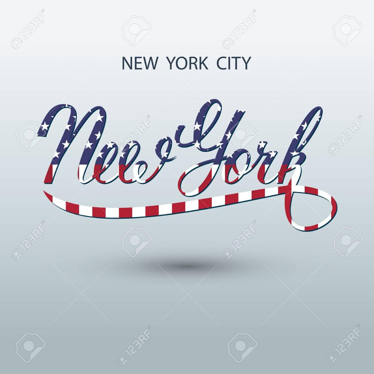 La Ciudad De Nueva York Logo Manuscrita. Ilustración Del Vector ...