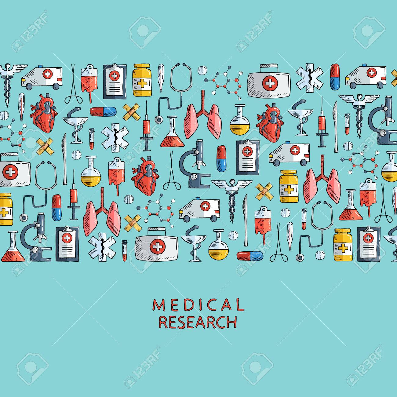 medical research hand drawn health care and medicine icons rh 123rf com Medical Logo Medical Symbol Vector