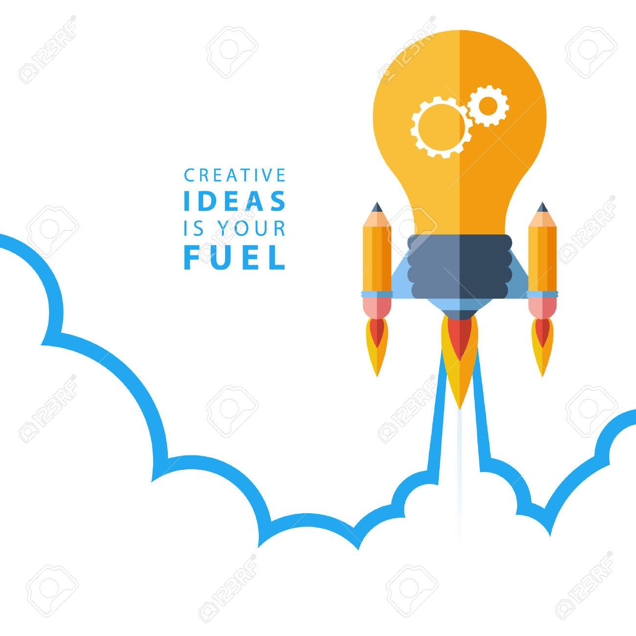 creative ideas is your fuel flat design colorful vector rh 123rf com