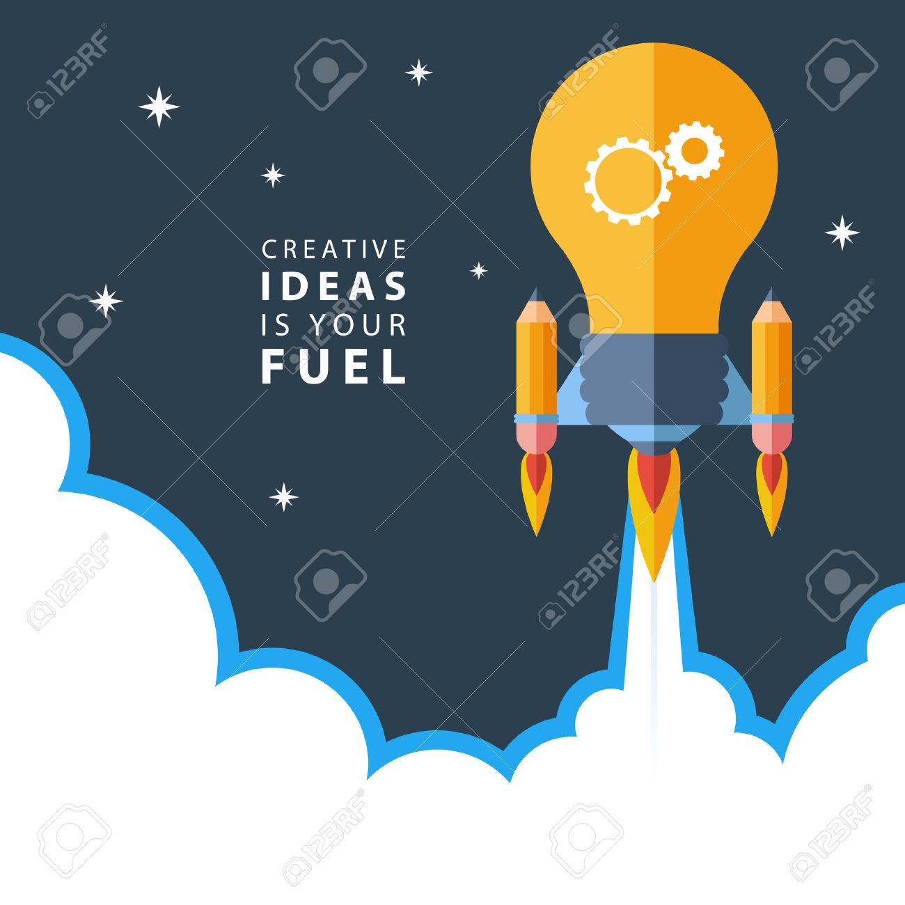 Creative ideas is your fuel. Flat design colorful vector illustration concept for creativity, big idea, creative work, starting new project. Stock Vector - 47178097