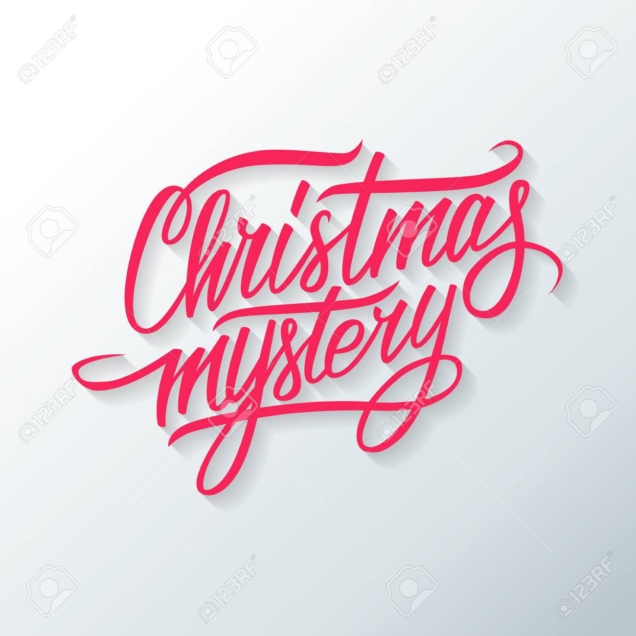 A Christmas Mystery.Christmas Mystery Hand Drawn Text Design Greeting Card Vector