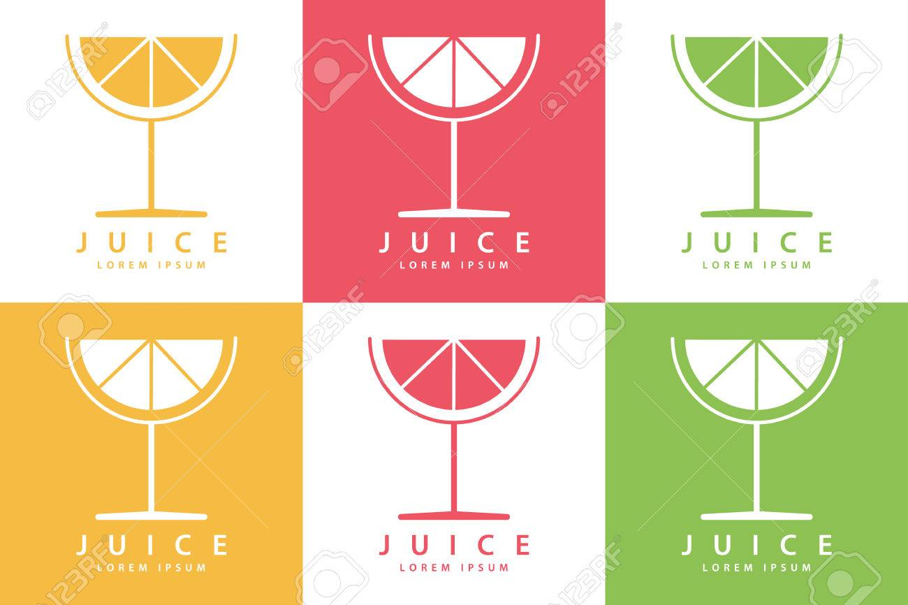 Set Farbe Limette Oder Zitrone Fruchtgetränk Symbol-Vorlagen. Vektor ...