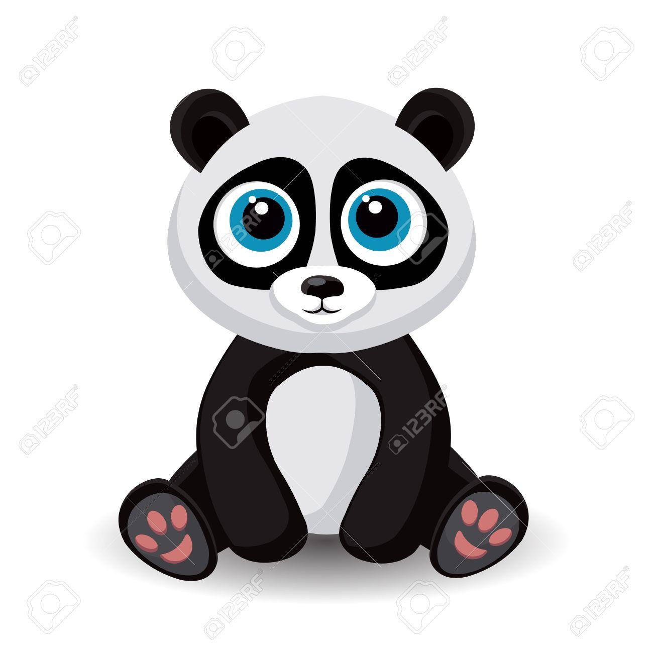 Assis Petit Panda Mignon Isolé Sur Fond Blanc Illustration