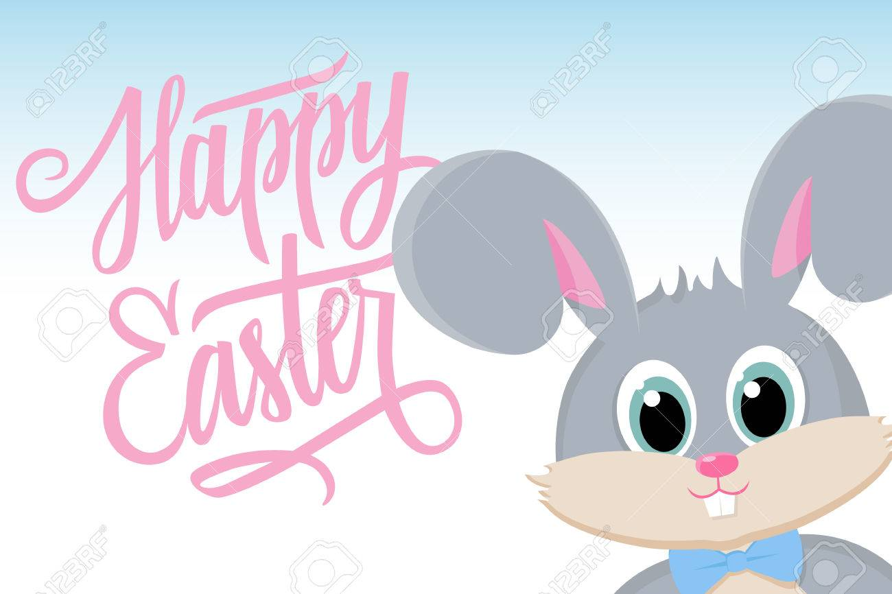 Cute Easter Bunny With Happy Easter Greetings Happy Easter Greeting