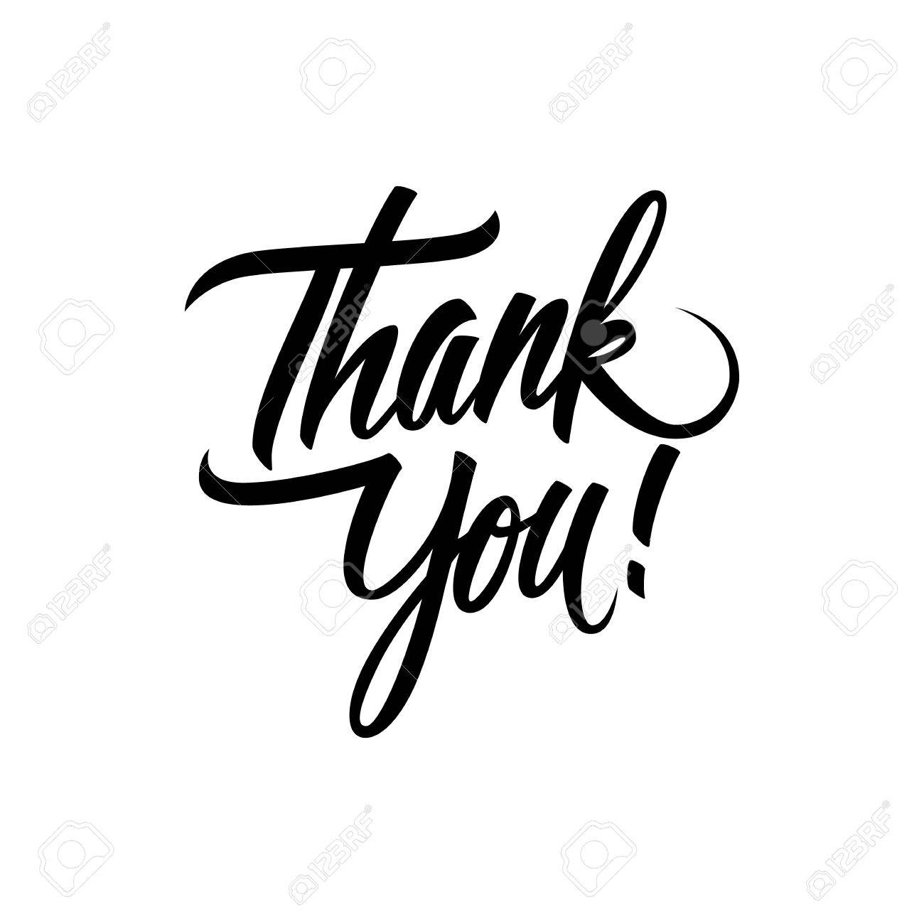 Thank You Handwritten Inscription Hand Drawn Lettering Thank