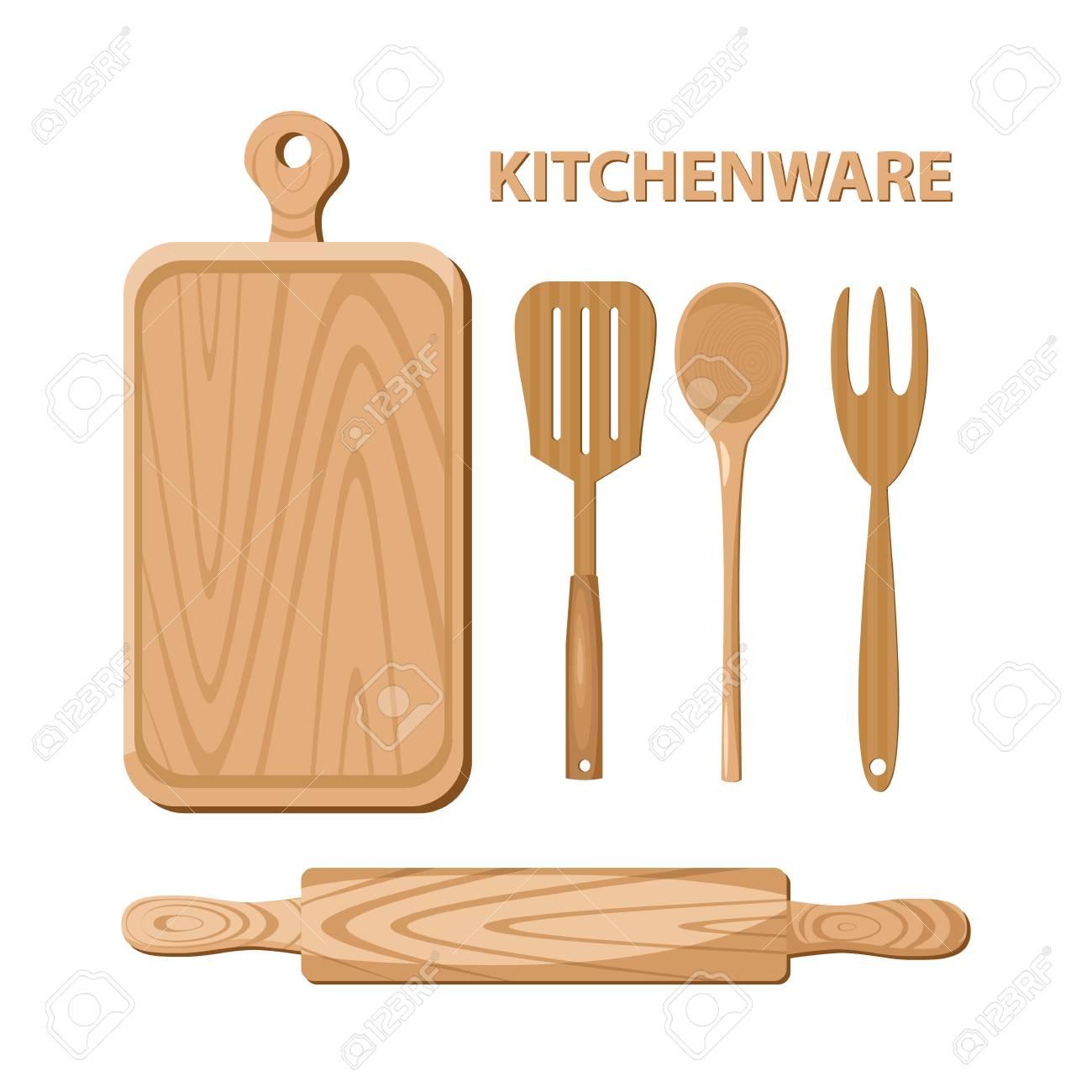 Wooden Kitchen Utensils. Kitchenware. Illustration. Royalty Free ...