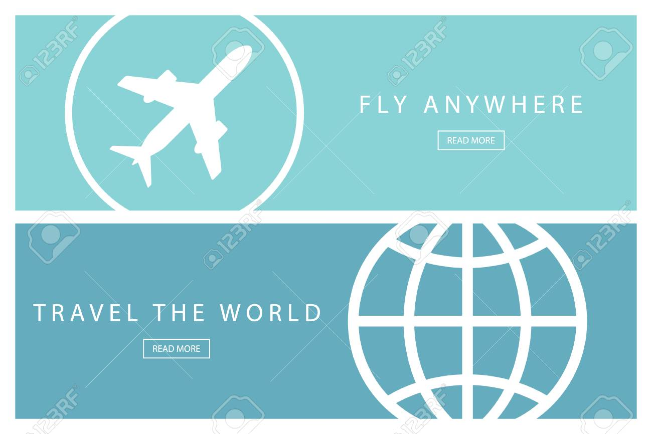set of flat design travel concepts. travel the world and fly