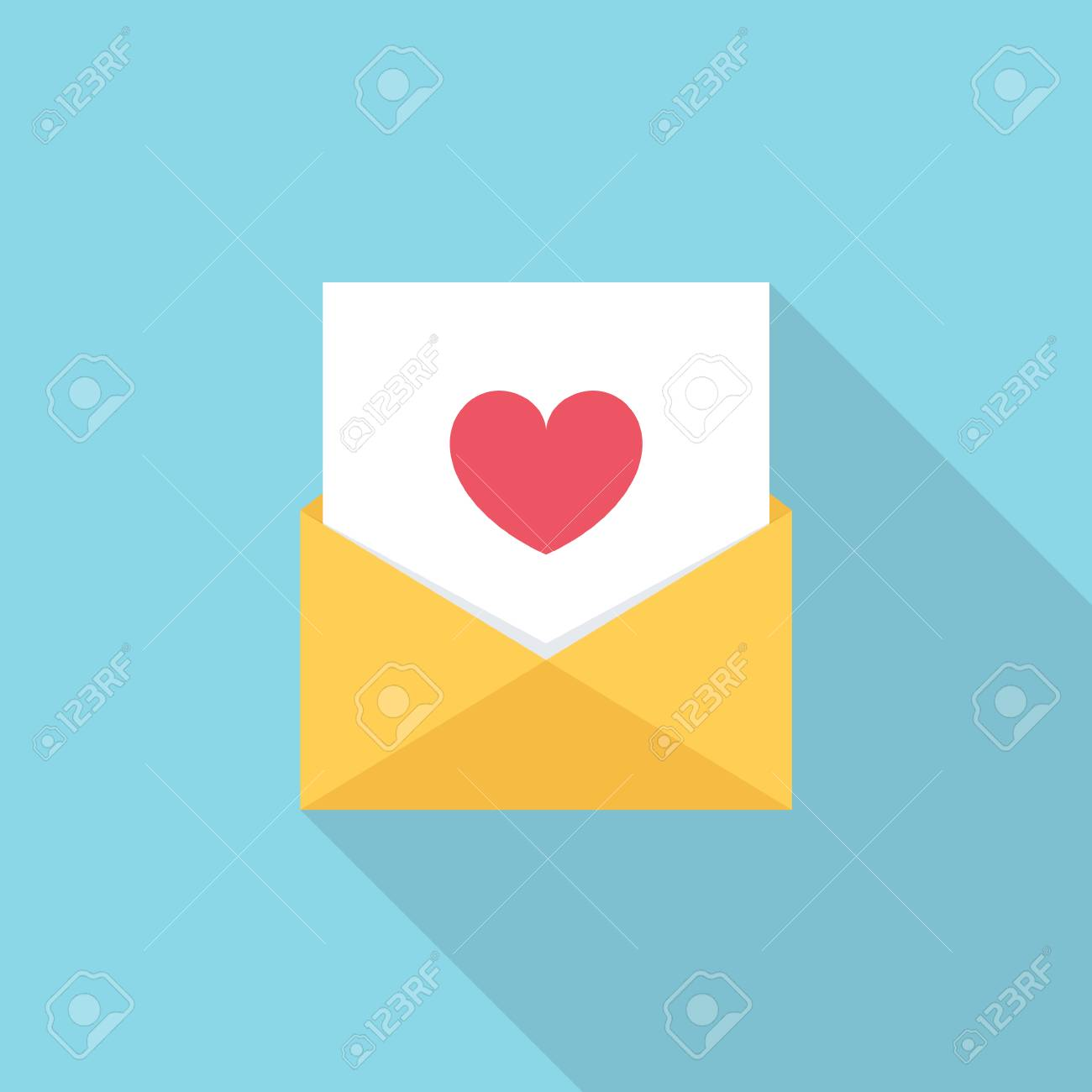 Letter Email Or Message With Heart Symbol Flat Style Vector