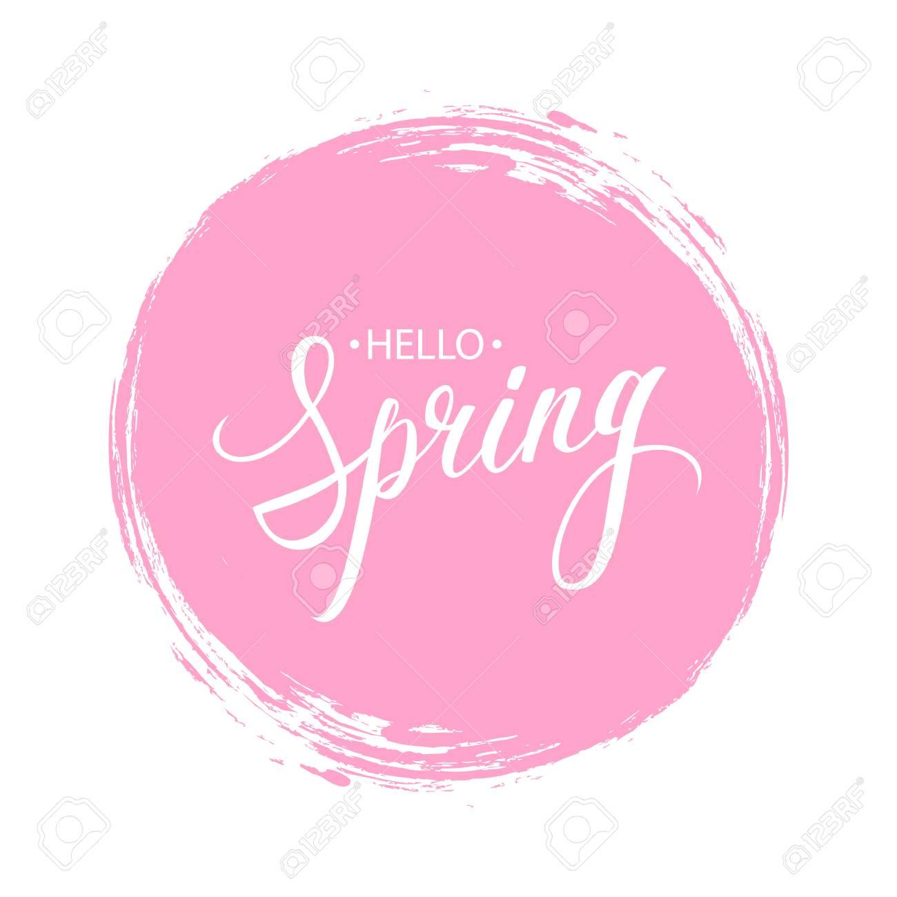 ピンクの丸ブラシ ストローク背景を持つフレーズこんにちは春を手書き