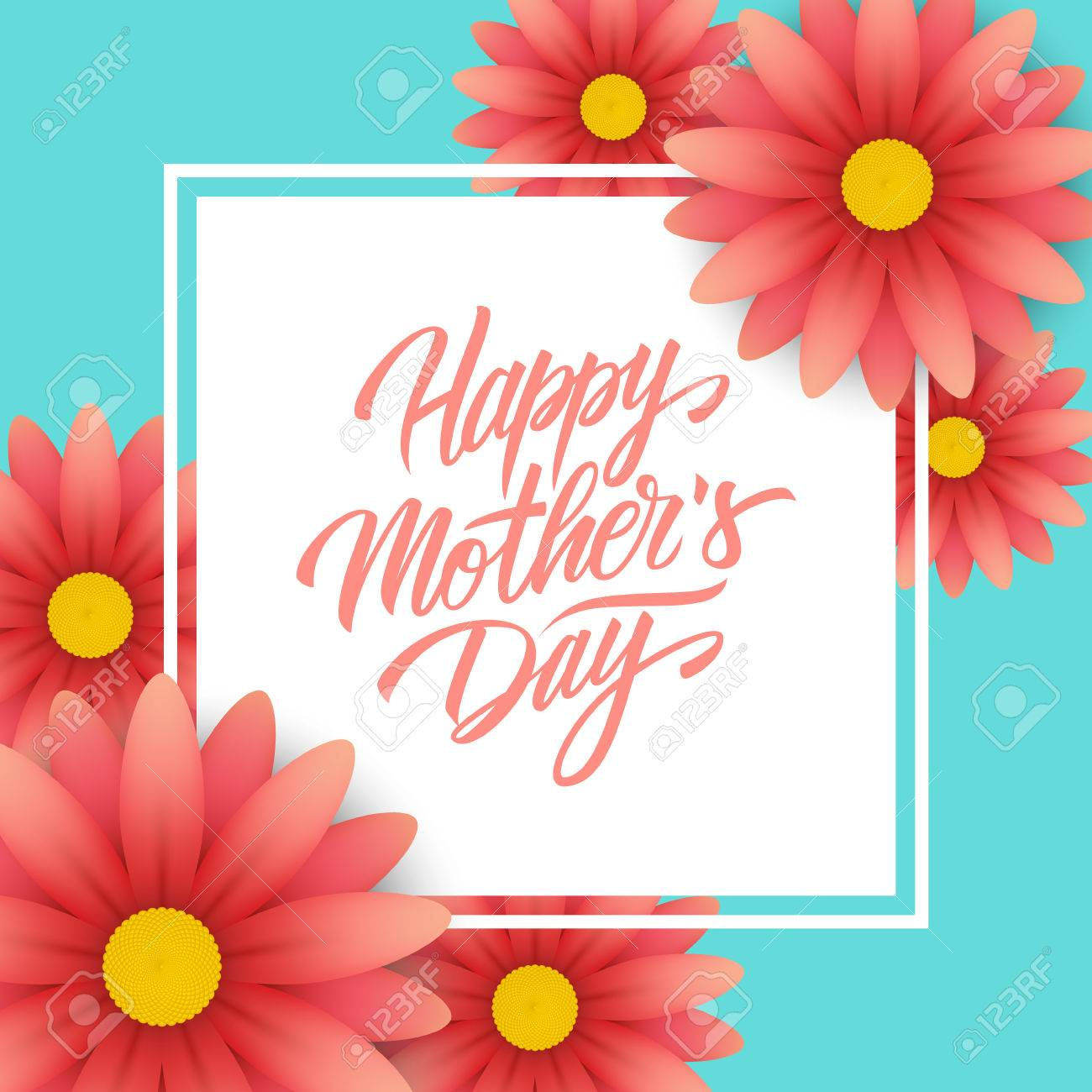 Happy Mothers Day Greeting Card With Calligraphic Lettering