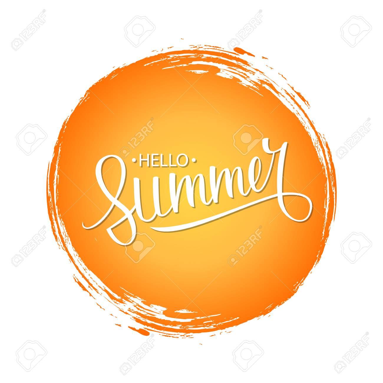 オレンジ色の丸ブラシ ストローク背景と手書き句こんにちは夏ベクトル