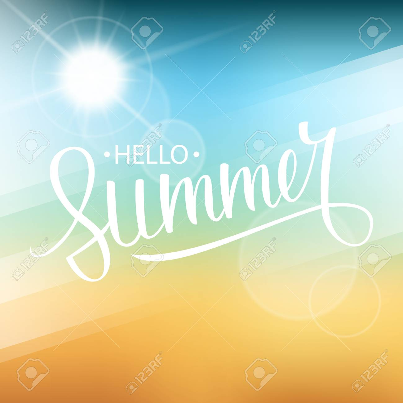 Hello Summer Card. Hand Drawn Lettering Text Design With Blurred Summer  Beach Background. Vector