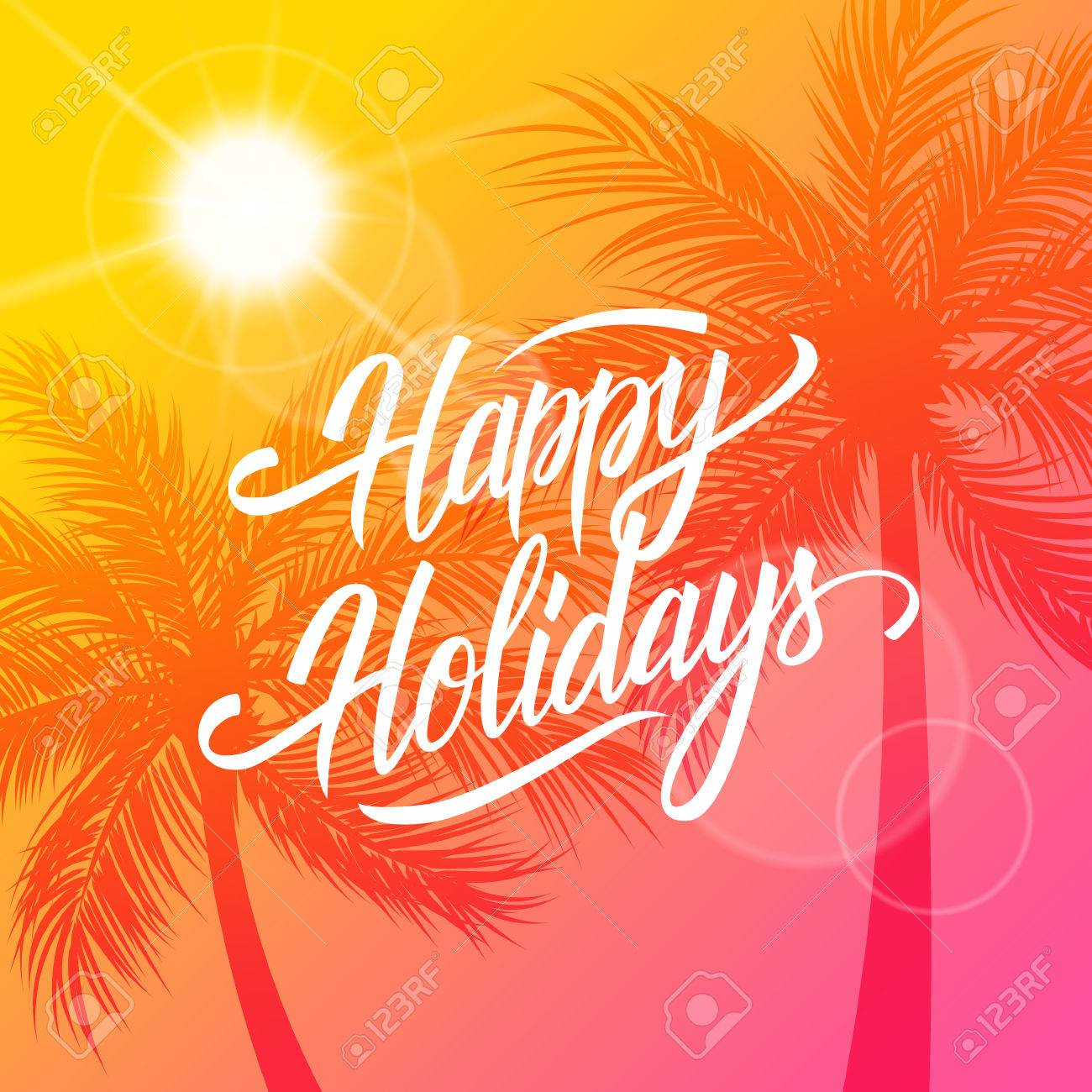 Happy holidays greeting card summertime background with happy holidays greeting card summertime background with calligraphic lettering text design and palm trees silhouette kristyandbryce Choice Image