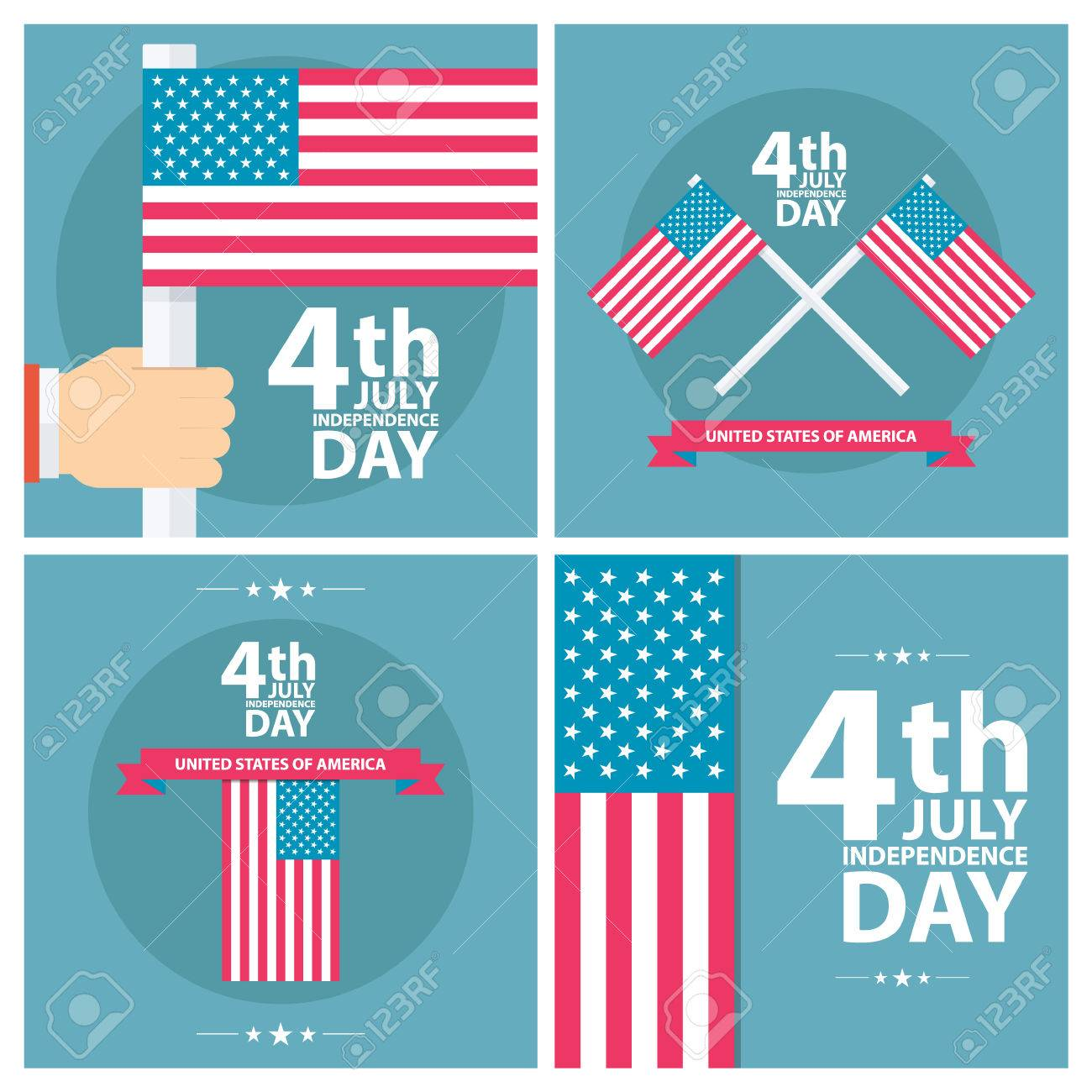a1b8c74dbc1 Set of 4th of july American independence day greeting cards with american  flag. Flat design