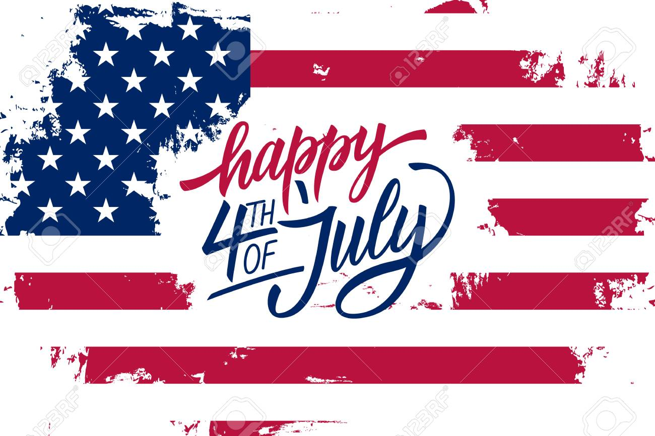 Happy 4th of July Independence Day greeting card with american flag brush stroke background and hand lettering text design; Vector illustration. - 80932594
