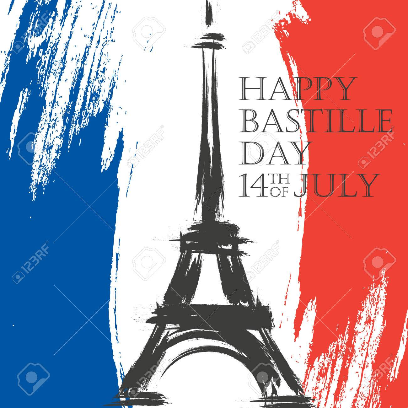 Happy bastille day greeting card 14th of july brush stroke holiday happy bastille day greeting card 14th of july brush stroke holiday background in colors of m4hsunfo