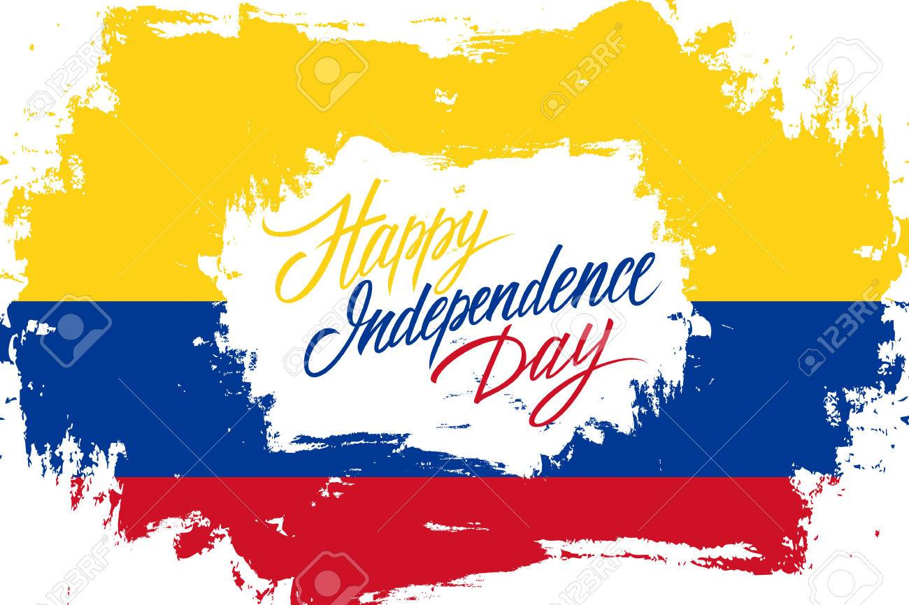 Colombia happy independence day greeting card with colombian colombia happy independence day greeting card with colombian flag brush stroke background and hand lettering text m4hsunfo