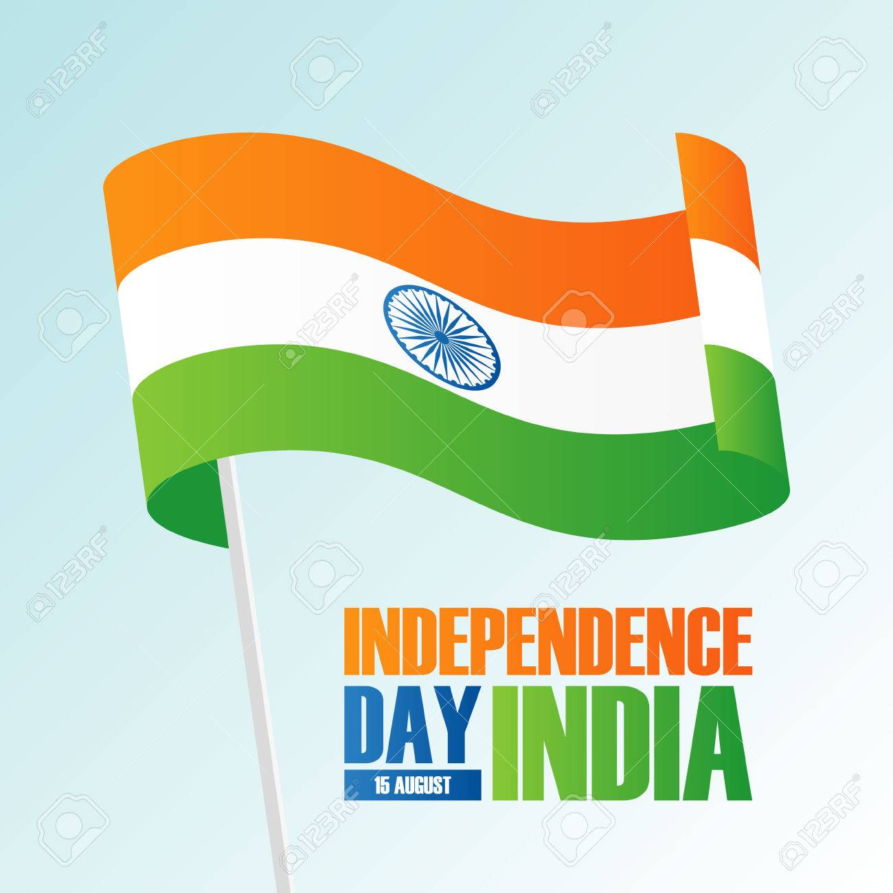 India Happy Independence Day 15 August Greeting Card With Waving