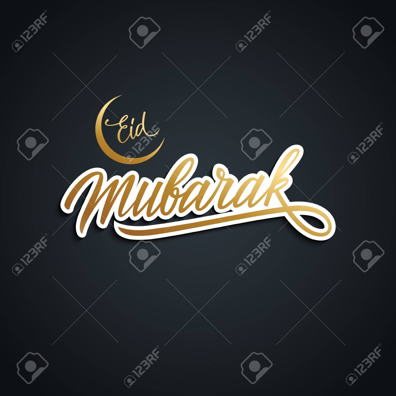 Eid mubarak greeting card with golden colored handwritten text eid mubarak greeting card with golden colored handwritten text design hand drawn lettering of muslim m4hsunfo