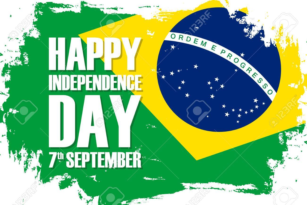 Brazil Happy Independence Day Holiday Background With Brazilian