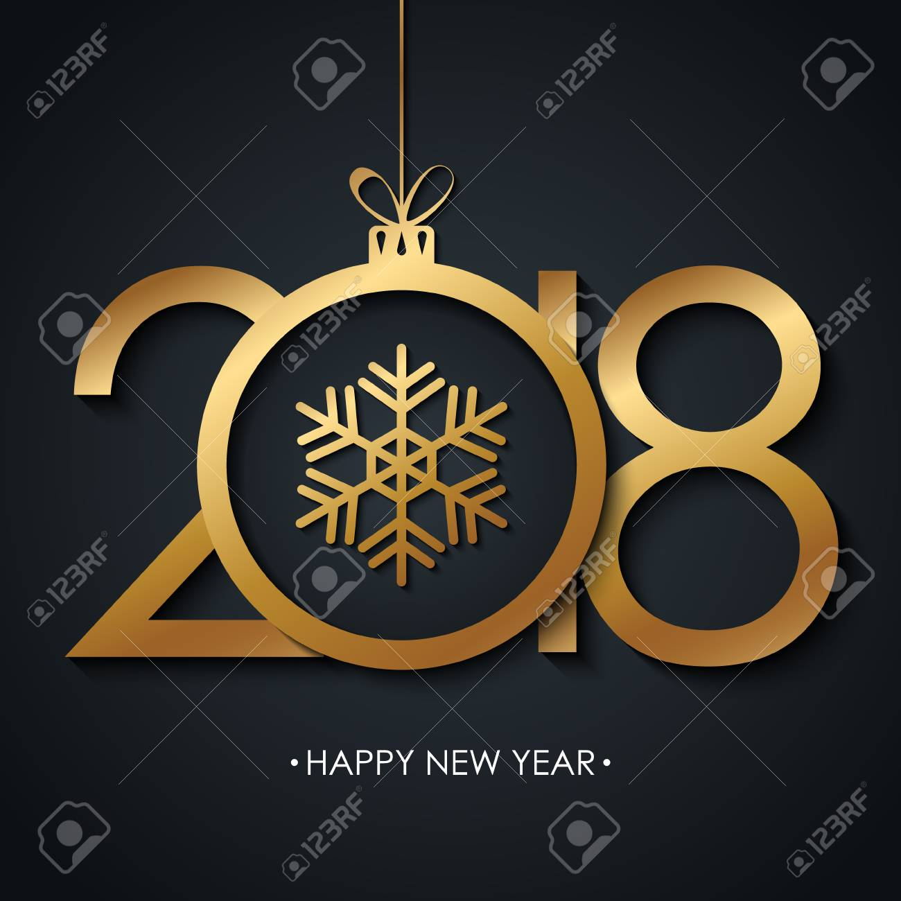2018 happy new year greeting card with golden christmas ball 2018 happy new year greeting card with golden christmas ball and snowflake on black background m4hsunfo