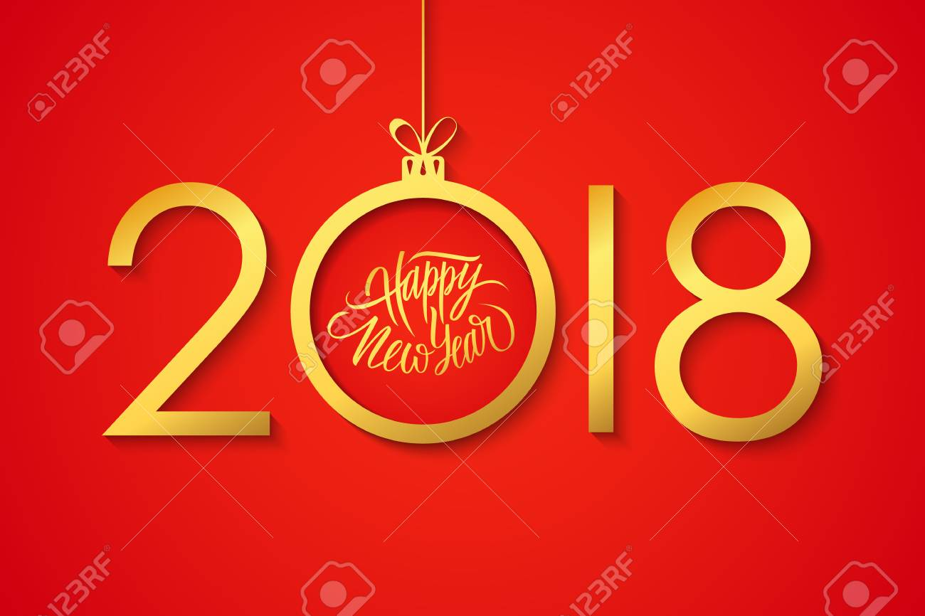 2018 happy new year celebrate banner with handwritten holiday 2018 happy new year celebrate banner with handwritten holiday greetings and golden christmas ball on red m4hsunfo
