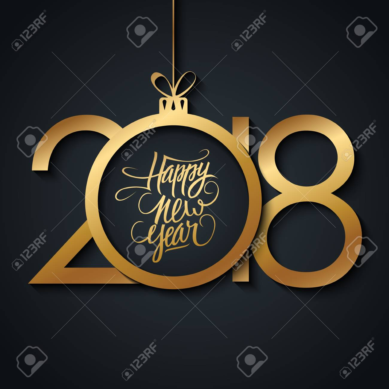 2018 Happy New Year Greeting Card With Hand Drawn Lettering Holiday