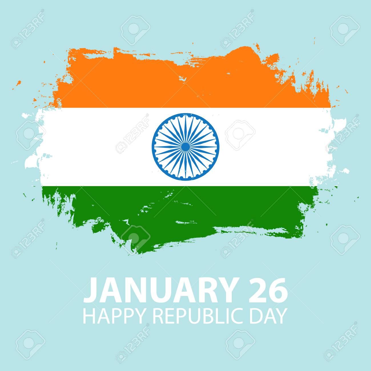 India happy republic day january 26 greeting card with brush india happy republic day january 26 greeting card with brush stroke in colors of the m4hsunfo