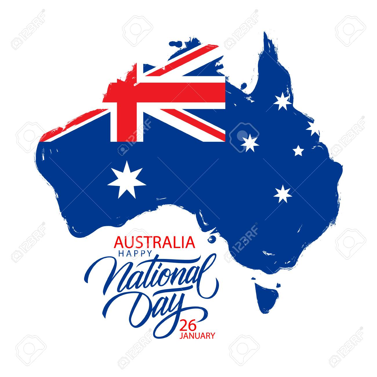 Australia Happy National Day January 26 Greeting Card With Hand