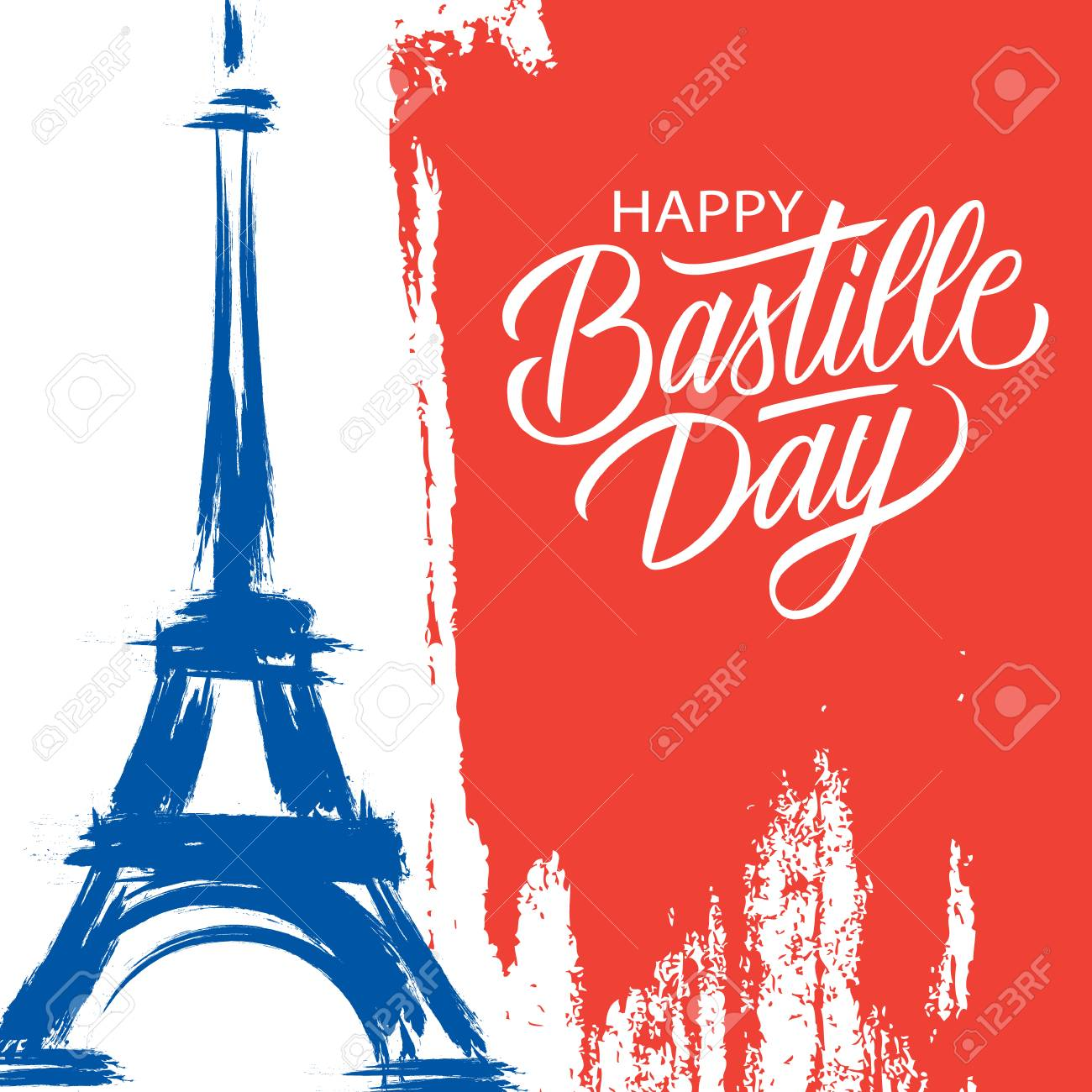 Happy Bastille Day, 14th of July brush stroke holiday greeting card in colors of the national flag of France with Eiffel tower and hand lettering. Vector illustration. - 103593707