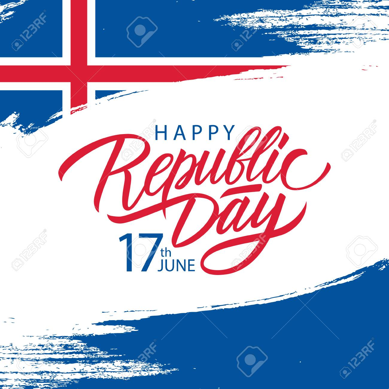 Icelandic Republic Day, 17th june greeting card with brush stroke background in colors of the national flag of Iceland and handwritten inscription Republic Day. Vector illustration. - 122405891