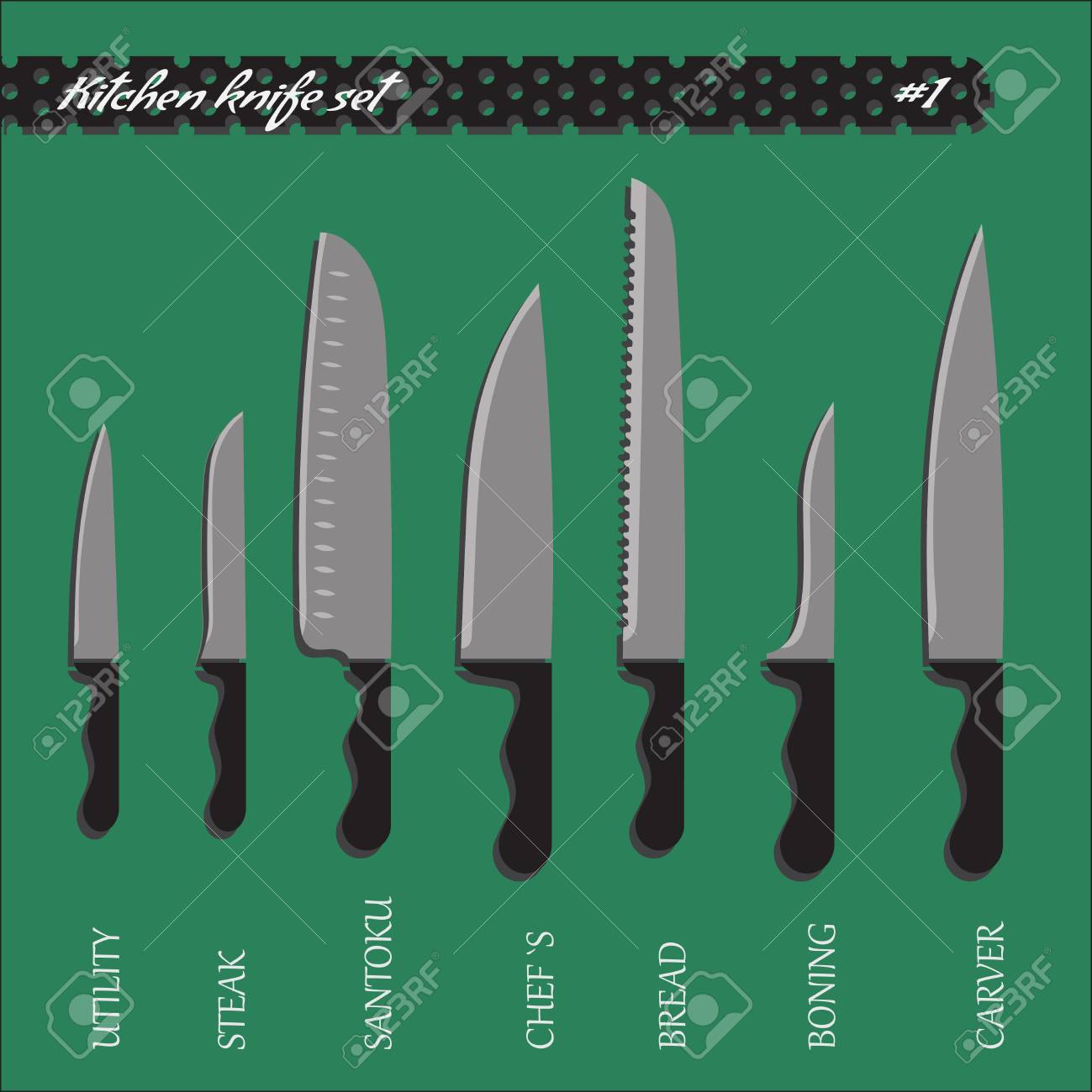 Set Number One Kitchen Knives, Big Choice Royalty Free Cliparts ...