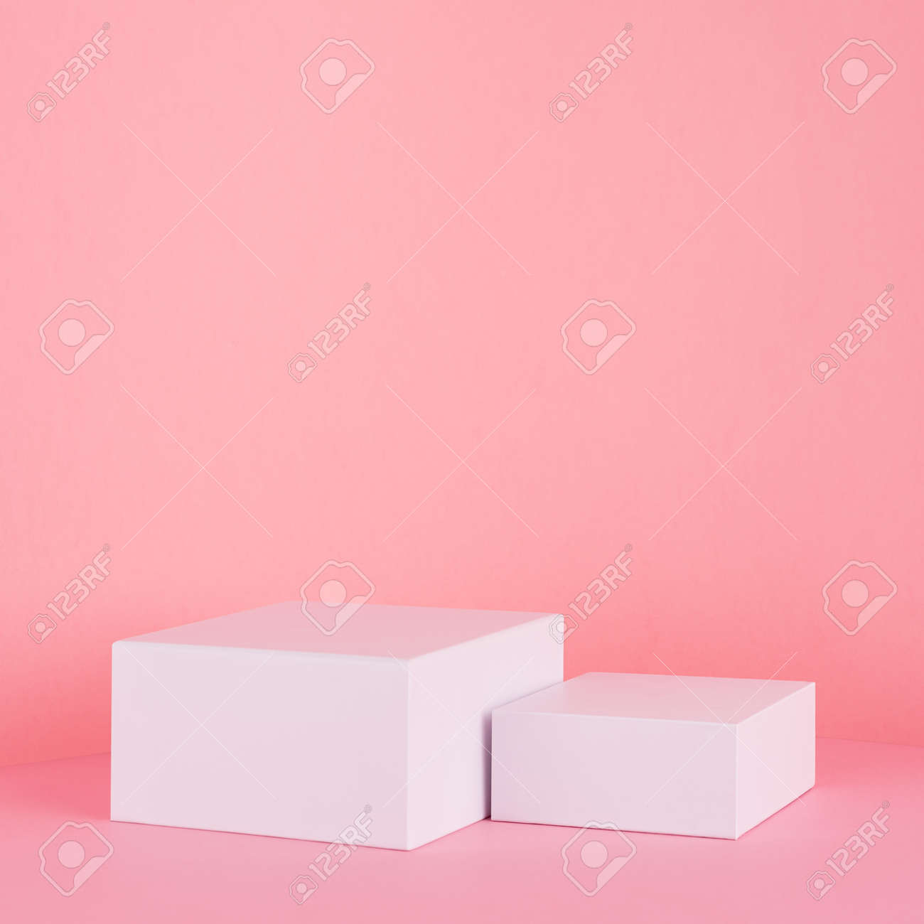 White square podiums for display cosmetic and goods on gentle pastel pink spring background, modern fashion style. - 168468854