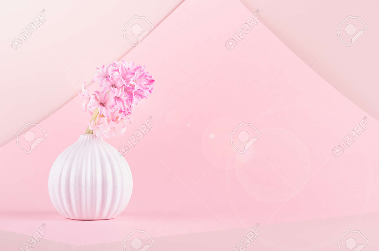 Airy gentle romantic spring flowers hyacinth in white ceramic vase as bulb in sunbeam with sun flare on pastel pink geomertric background, copy space. Festive backdrop for womans day. - 168468856