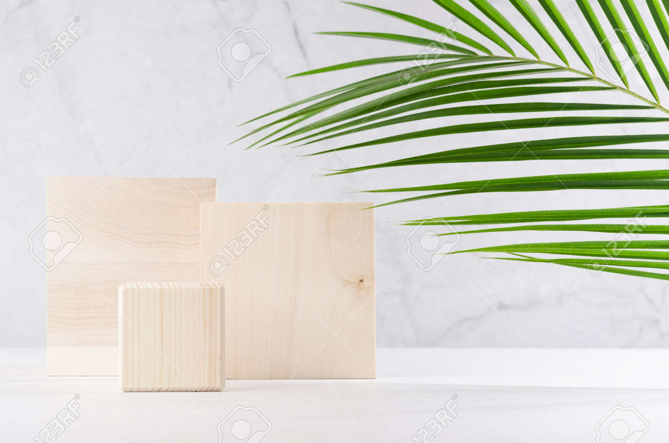 Natural style for cosmetics product display - wooden square podiums with green palm leaf, shadow on white wood table and gray marble wall. - 168468883