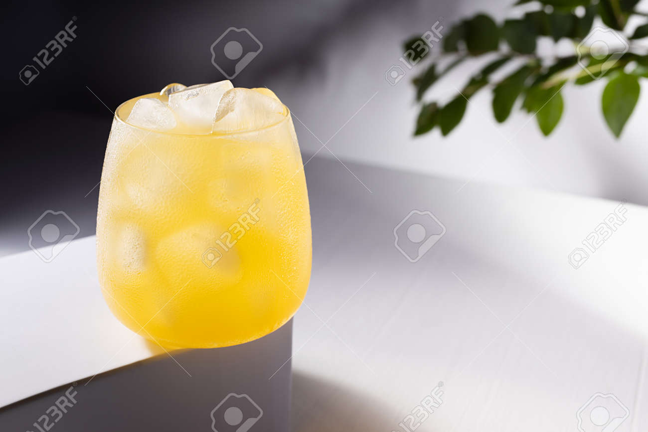 Cold fresh summer orange cocktail with vodka, ice cubes in sunlight with shadows, green leaves on branch on white table with gradient dark wall or outdoor. - 173589395