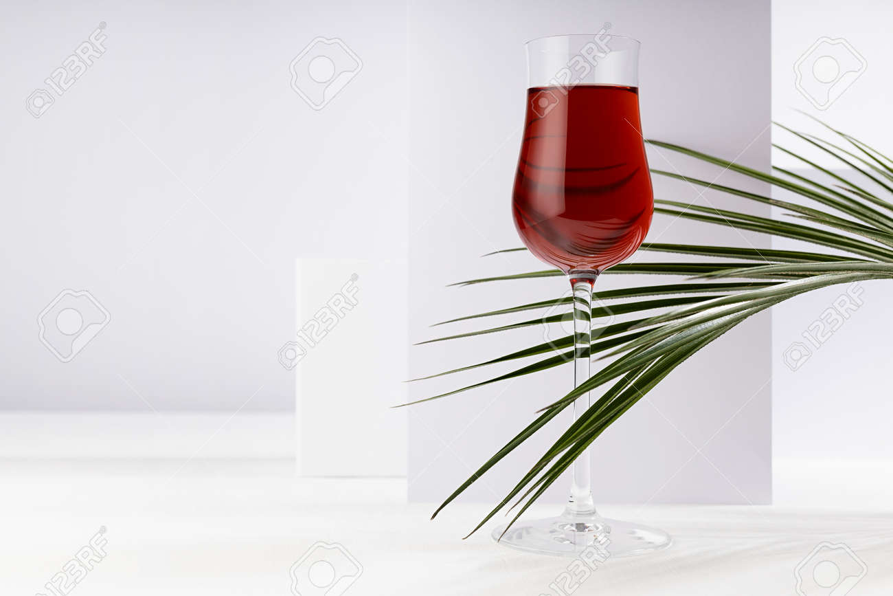 Red wine in elegant glass with summer tropical green palm leaf in sunlight with striped shadows in white abstract interior in minimal geometric style. - 173589737