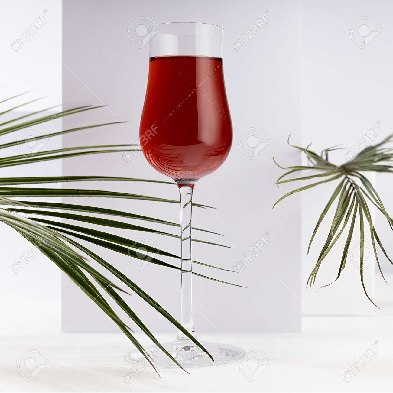 Red port wine in rich high glass with decor of green palm leaves in sunlight with shadow in modern minimal abstract white interior with geometric spaces, square. - 173913931