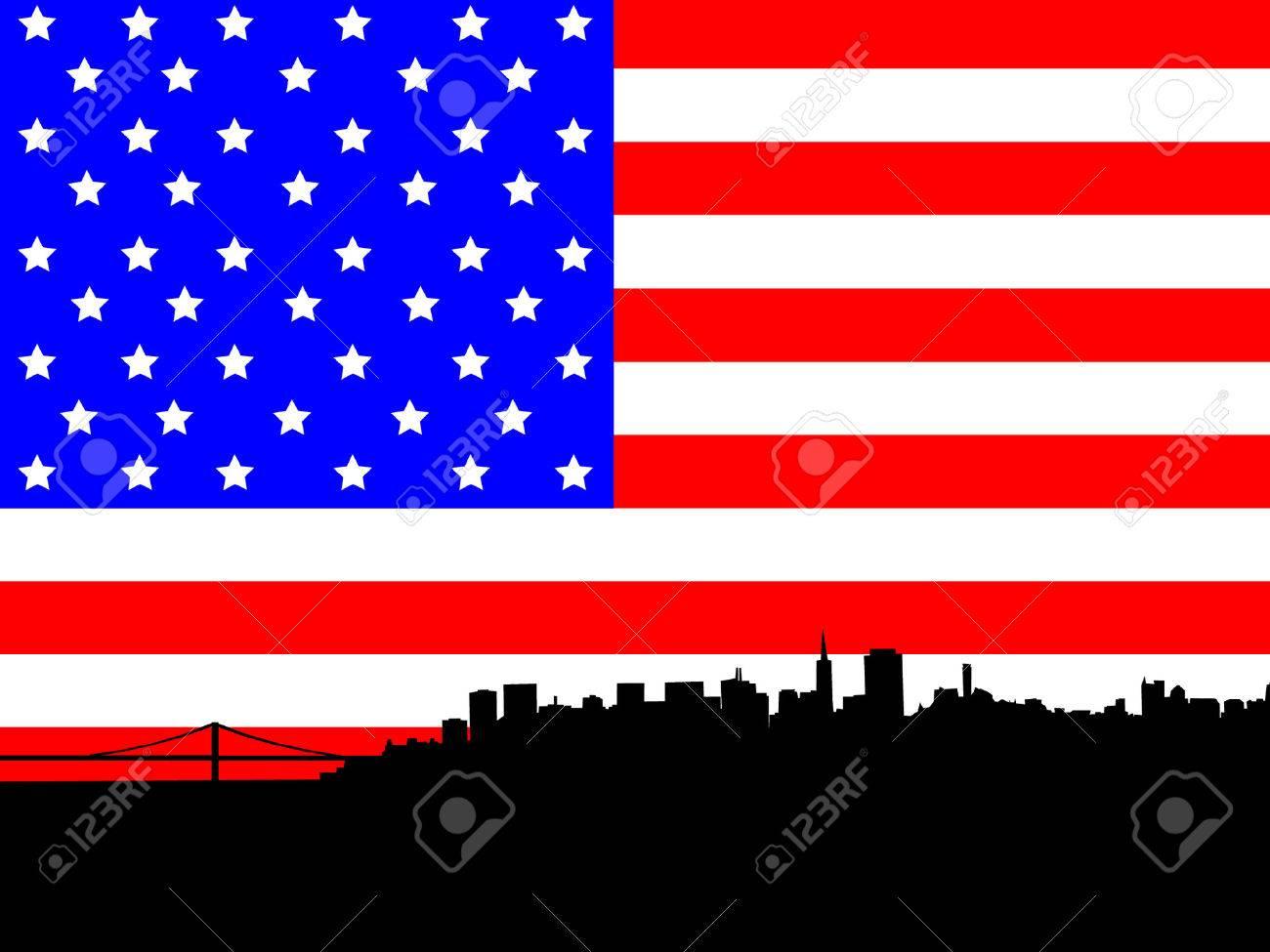 San Francisco skyline against American Flag Stock Vector - 552208
