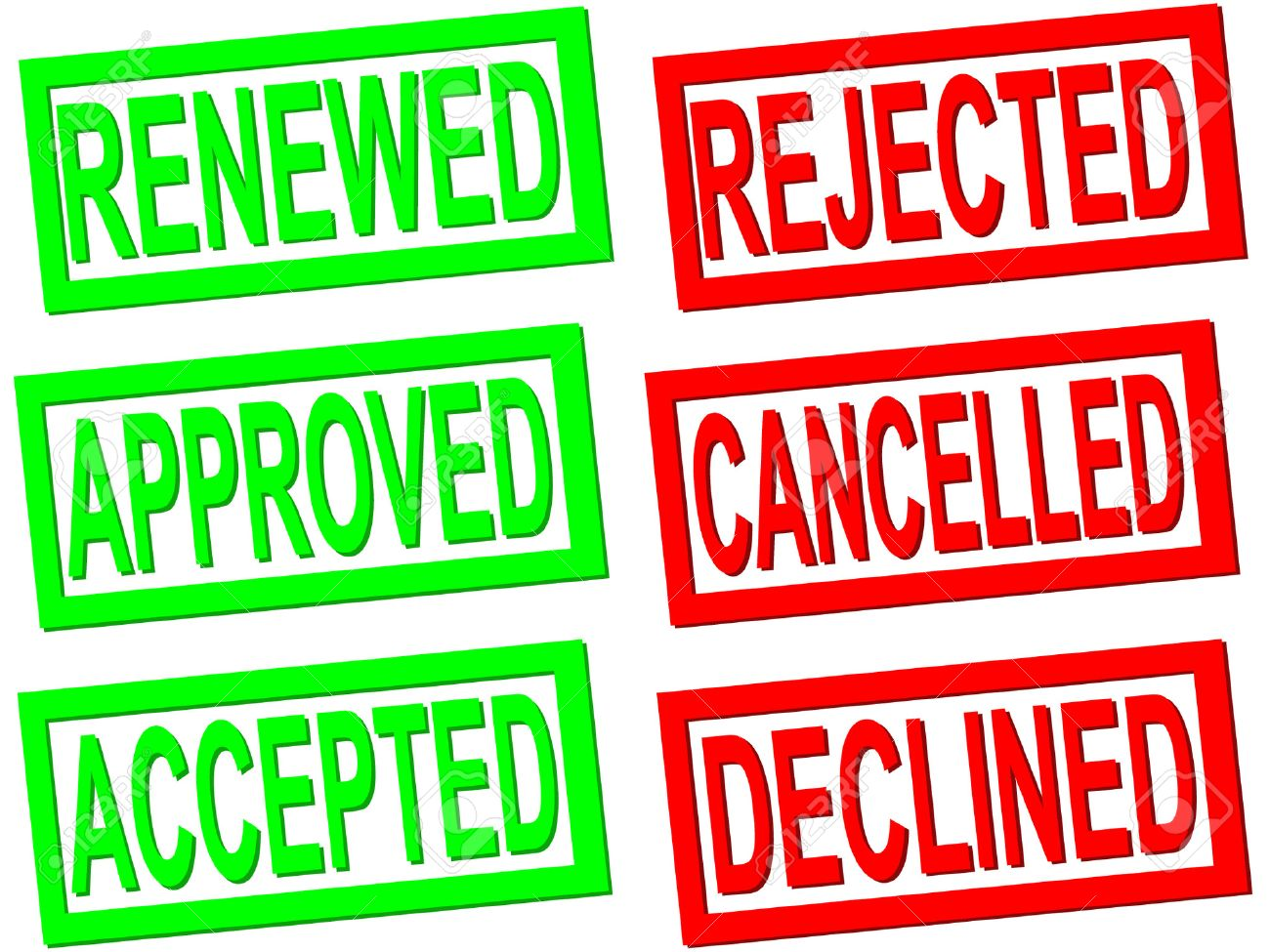 accepted, rejected, cancelled transparent stamps Stock Vector - 604569