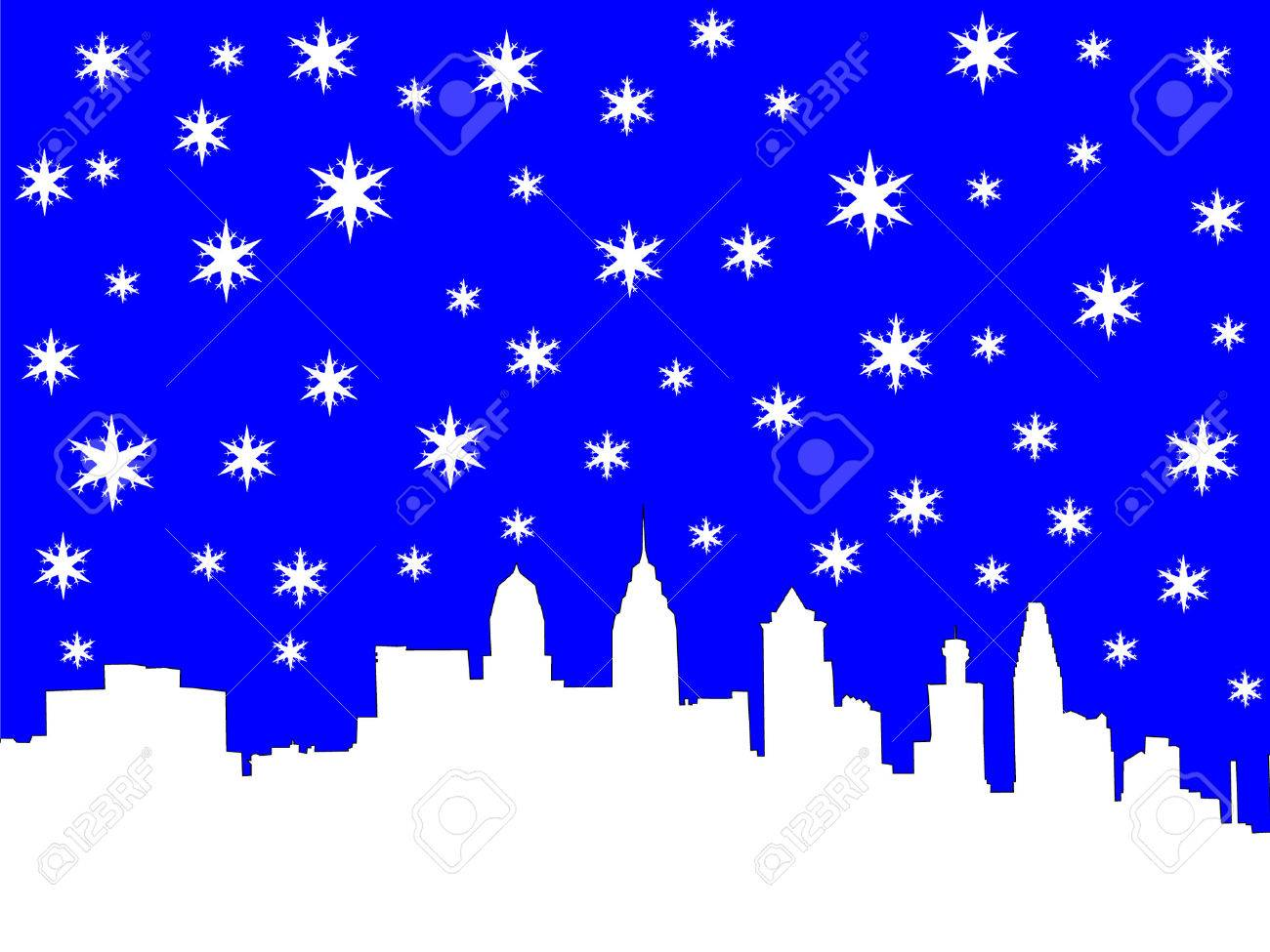 Philadelphia skyline in winter with snowflakes Stock Vector - 631534