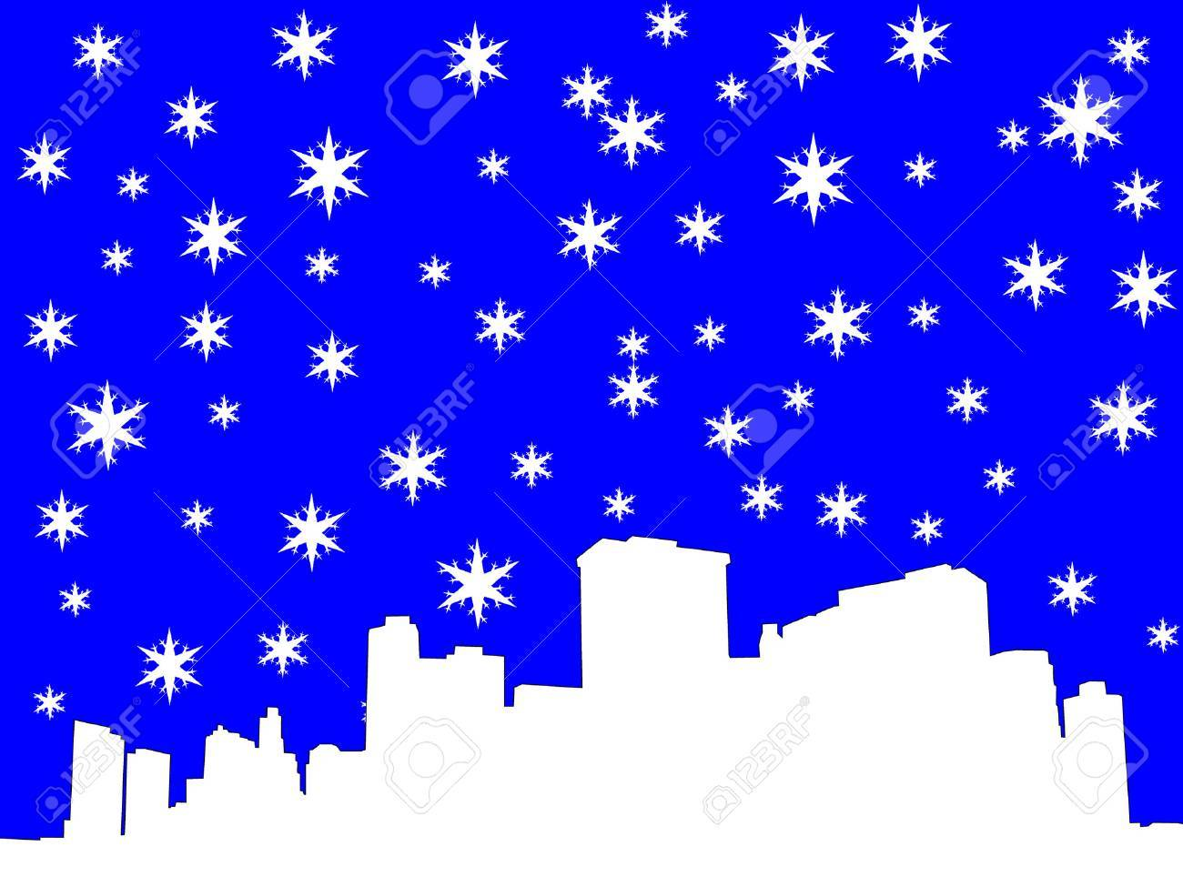 lower manhattan skyline in winter illustration Stock Vector - 663452