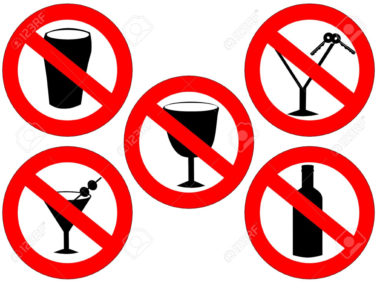 no alcohol and drink driving forbidden signs Stock Vector - 667340