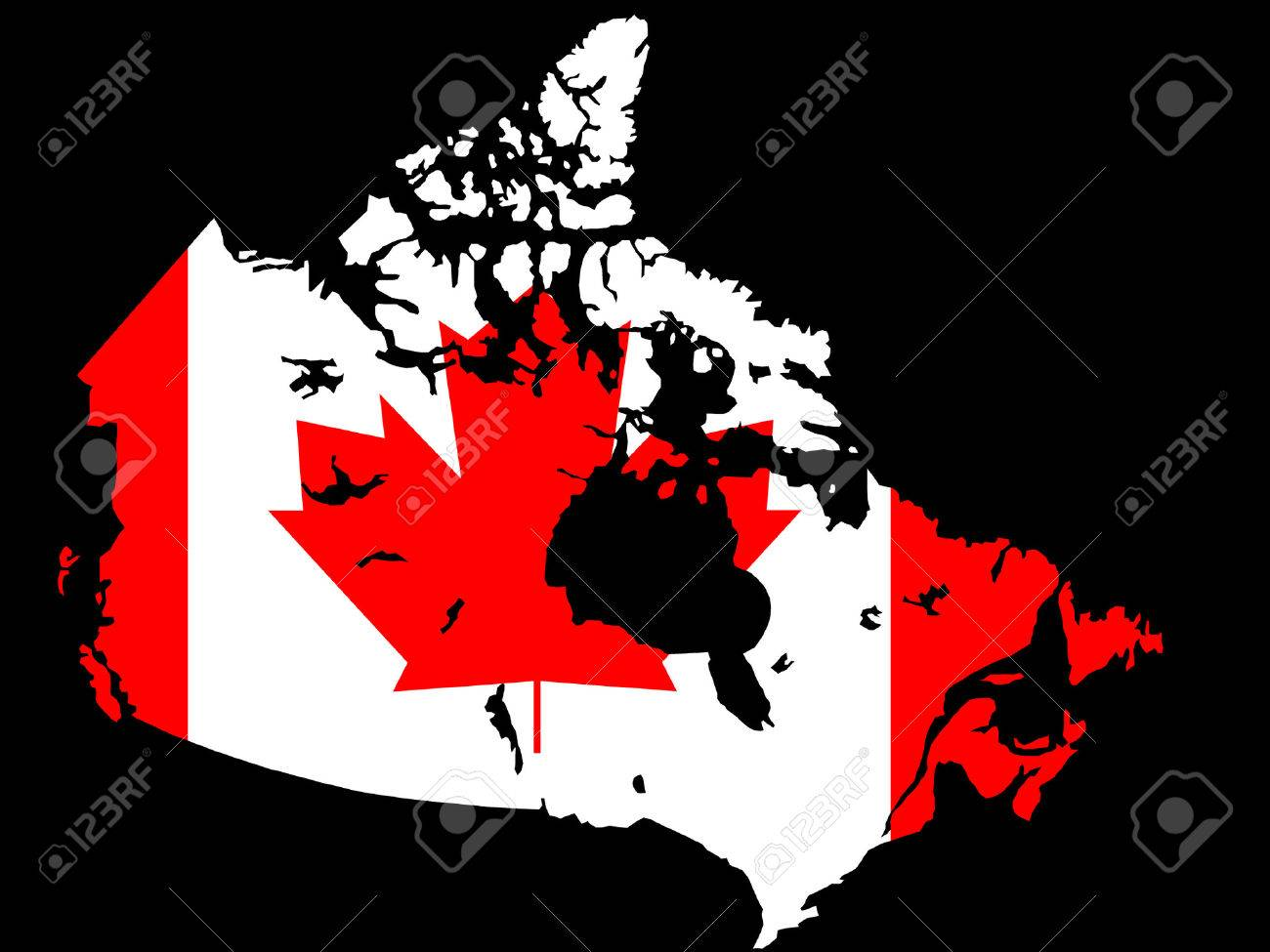 Canadian map and flag illustration Stock Vector - 709369