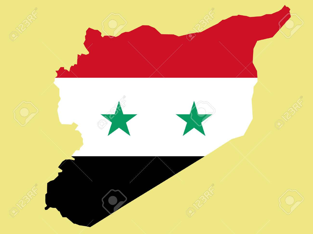 map of syria and syrian flag illustration Stock Vector - 725722