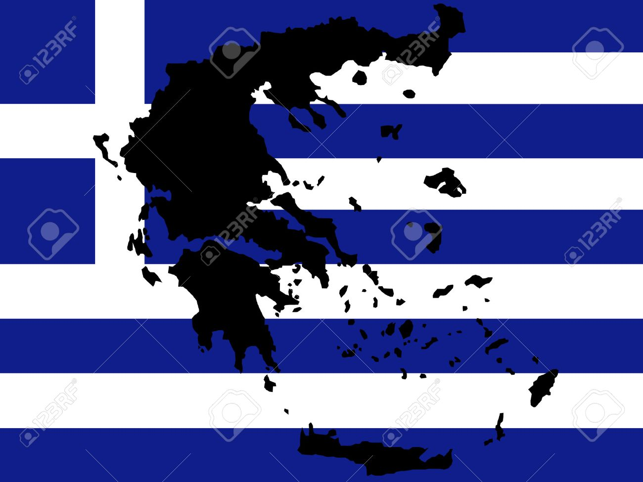 map of Greece and Greek flag illustration Stock Vector - 732307