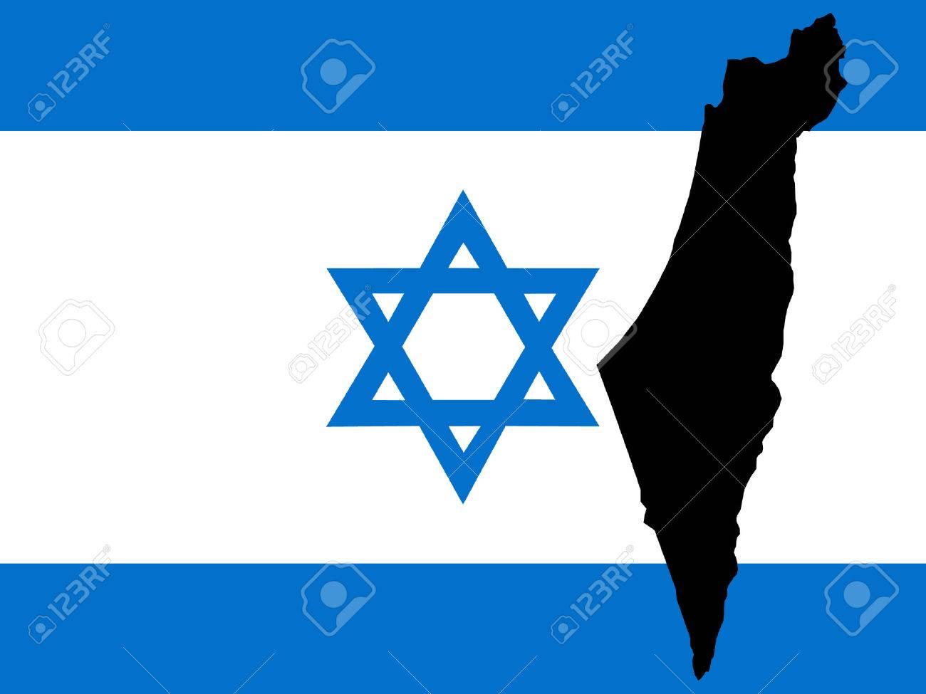 map of Israel and Israeli flag illustration Stock Vector - 732972