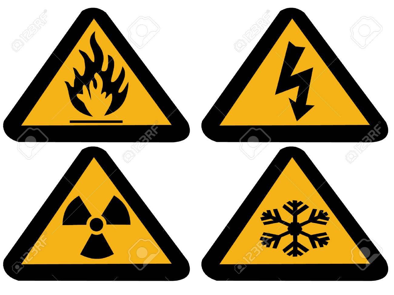 Industrial Hazard Symbols Extreme Cold Flammableradioactive
