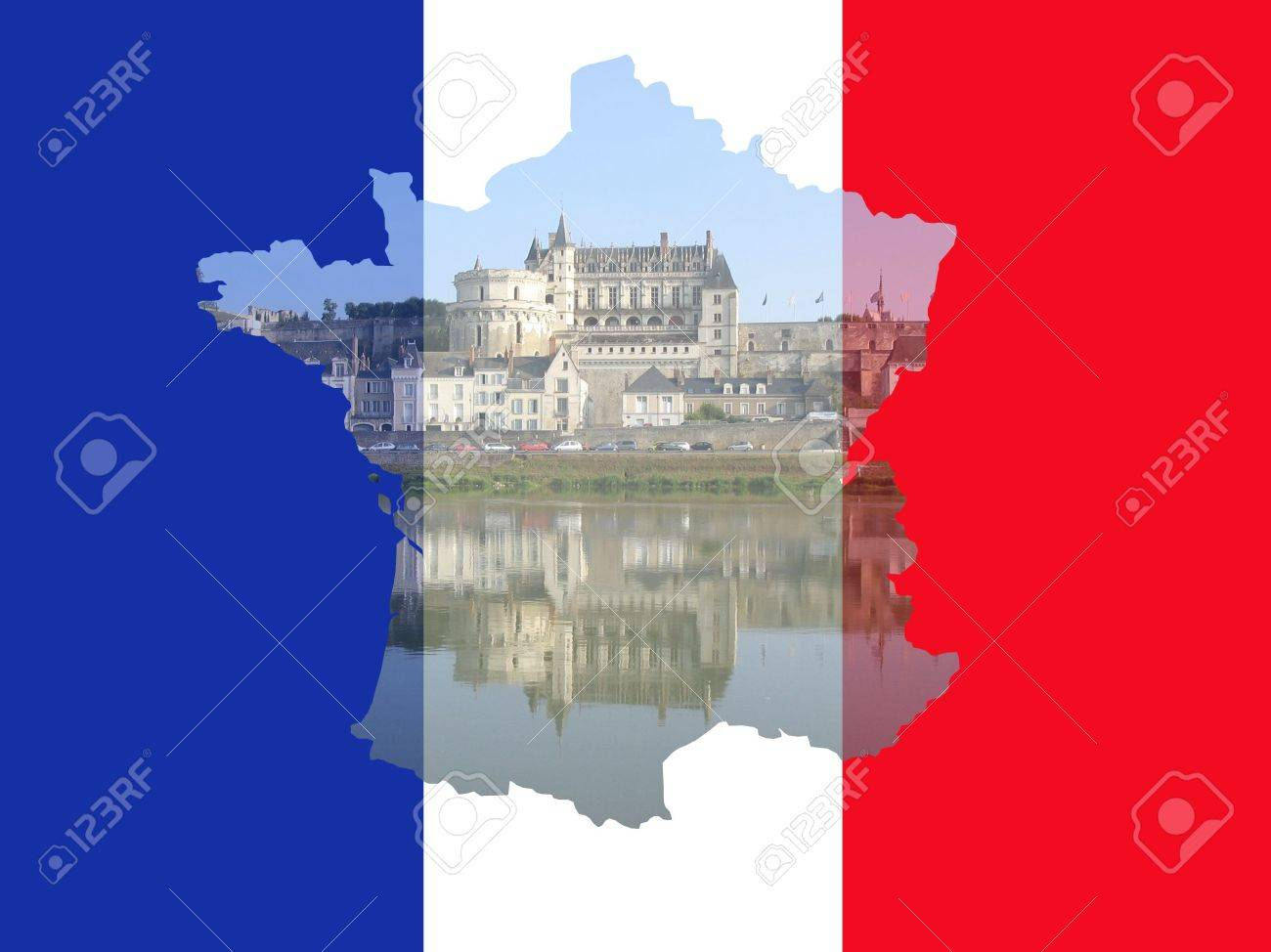 Amboise France Map.Amboise Chateau Reflected In River Loire France With French Map