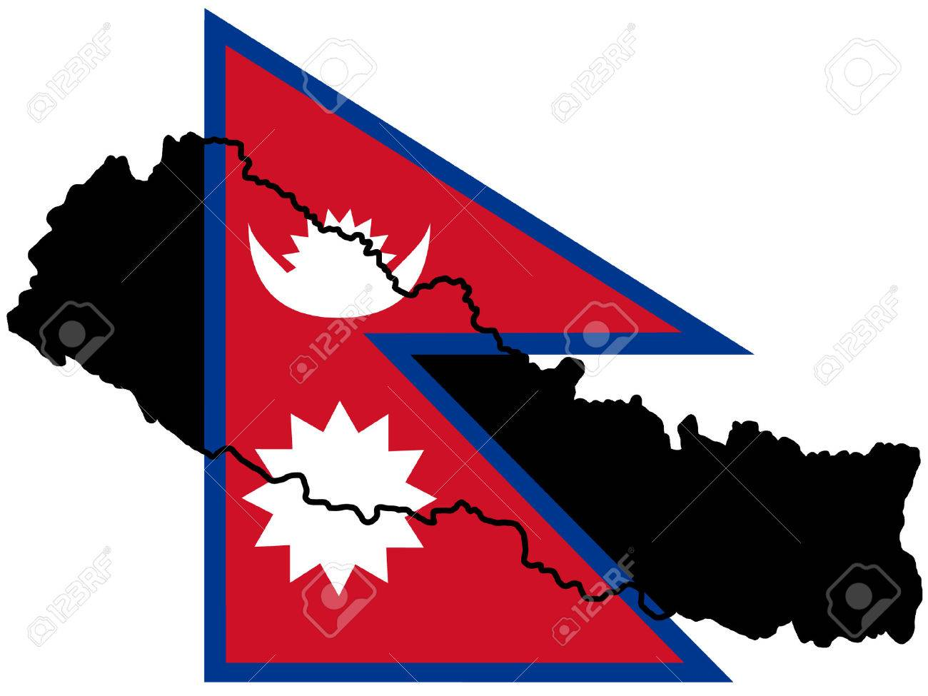 map of Nepal and Nepalese flag illustration